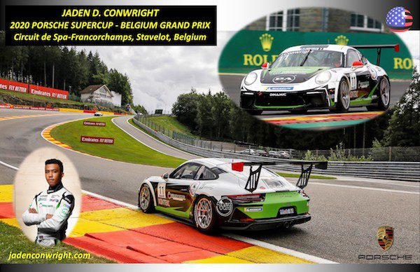 Jaden Conwright completed his first 2020 Porsche Carrera Cup race at Le Mans